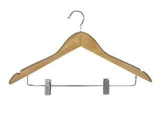 Standard Hooked Coathanger With Skirt Clip, Natural