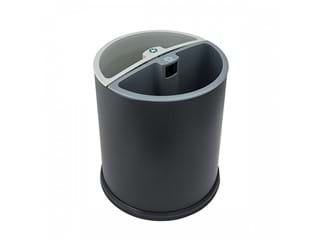 JVD 2 Compartment Recycle Bin, Round, Black, 10L