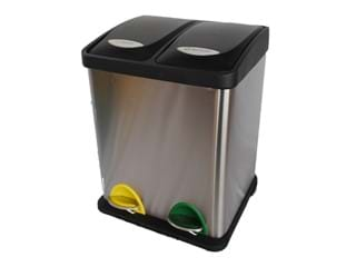 Stainless Steel 2 Compartment Step Pedal Recycle Bin 16L